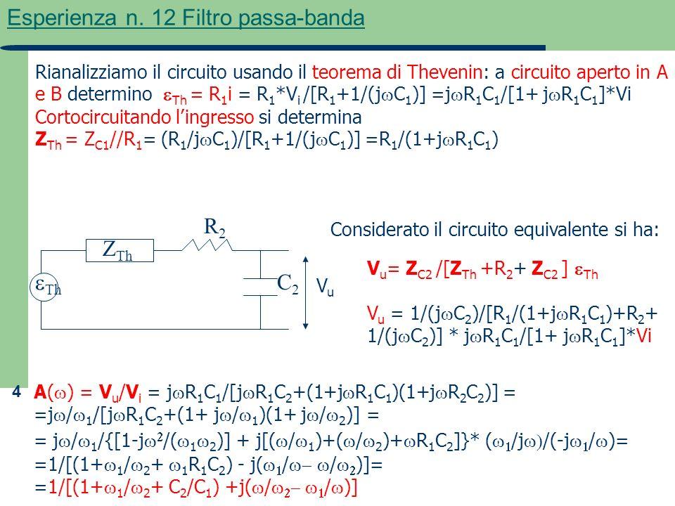 4 Esperienza n. 12 Filtro passa-banda Rianalizziamo il circuito usando il teorema di Thevenin: a circuito aperto in A e B determino Th = R 1 i = R 1 *