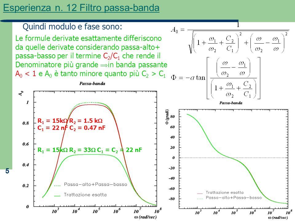 5 Esperienza n. 12 Filtro passa-banda Le formule derivate esattamente differiscono da quelle derivate considerando passa-alto+ passa-basso per il term