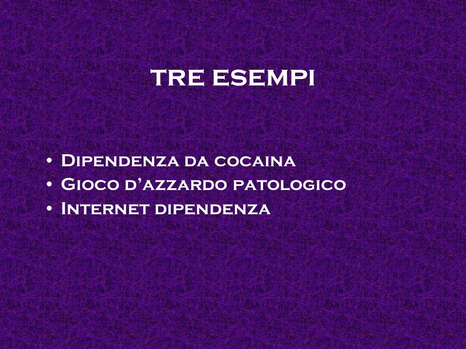 tre esempi Dipendenza da cocaina Gioco dazzardo patologico Internet dipendenza