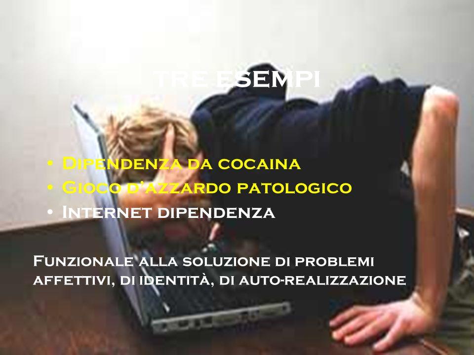 tre esempi Dipendenza da cocaina Gioco dazzardo patologico Internet dipendenza Funzionale alla soluzione di problemi affettivi, di identità, di auto-r