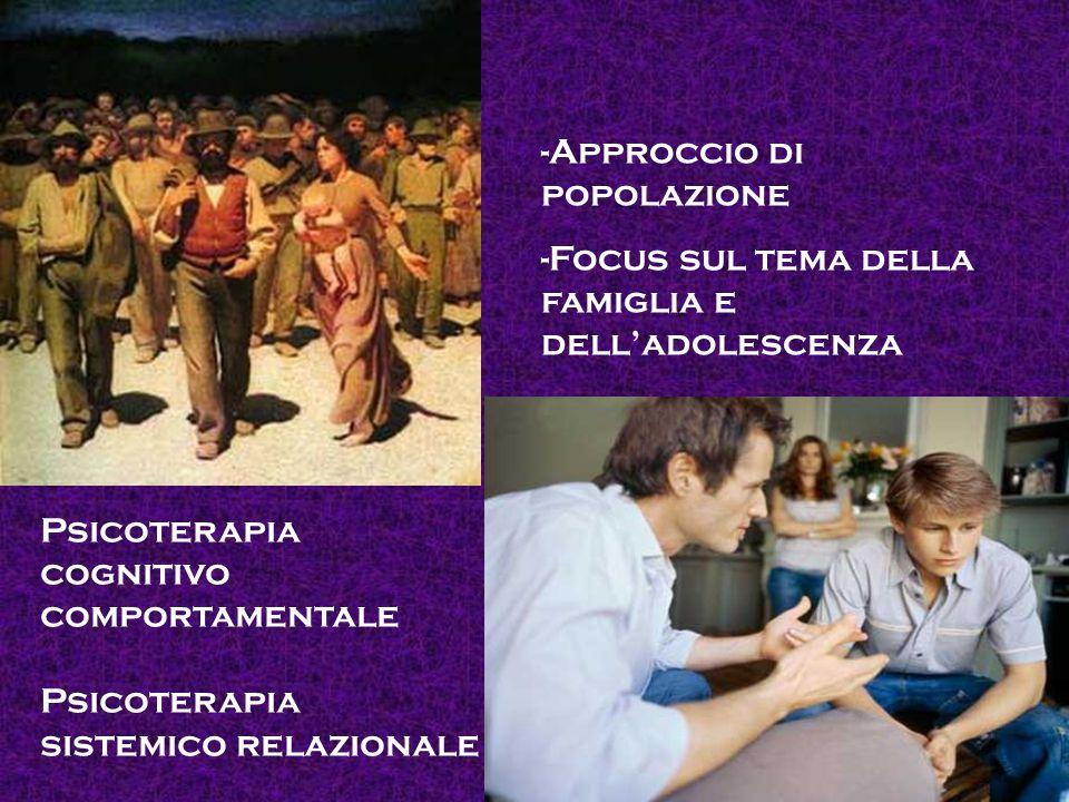 -Approccio di popolazione -Focus sul tema della famiglia e delladolescenza Psicoterapia cognitivo comportamentale Psicoterapia sistemico relazionale