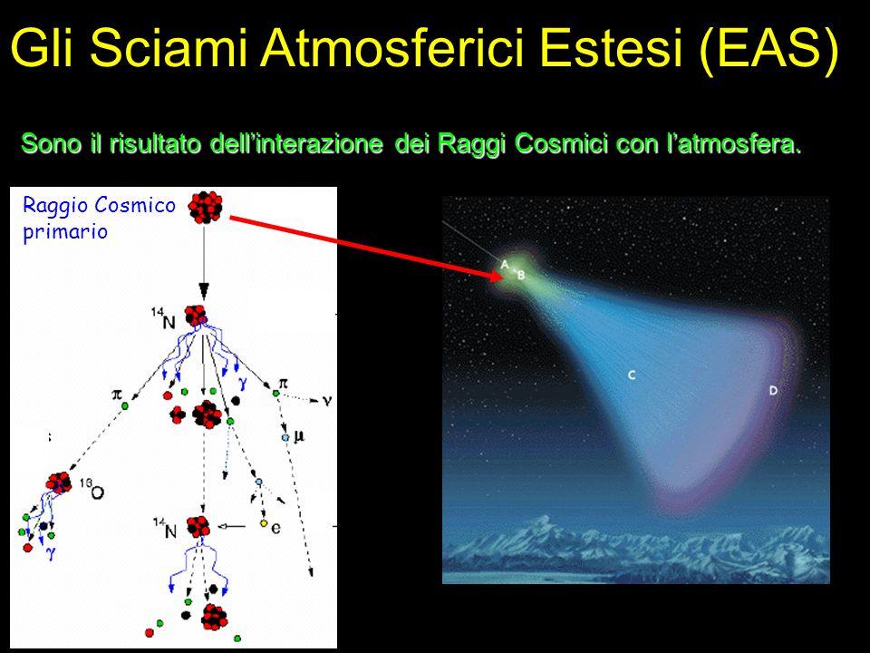 Caratteristiche degli EAS asse fronte dello sciame curvatura core ~20ns ~2ns L t atmosfera Griglia di rivelatori