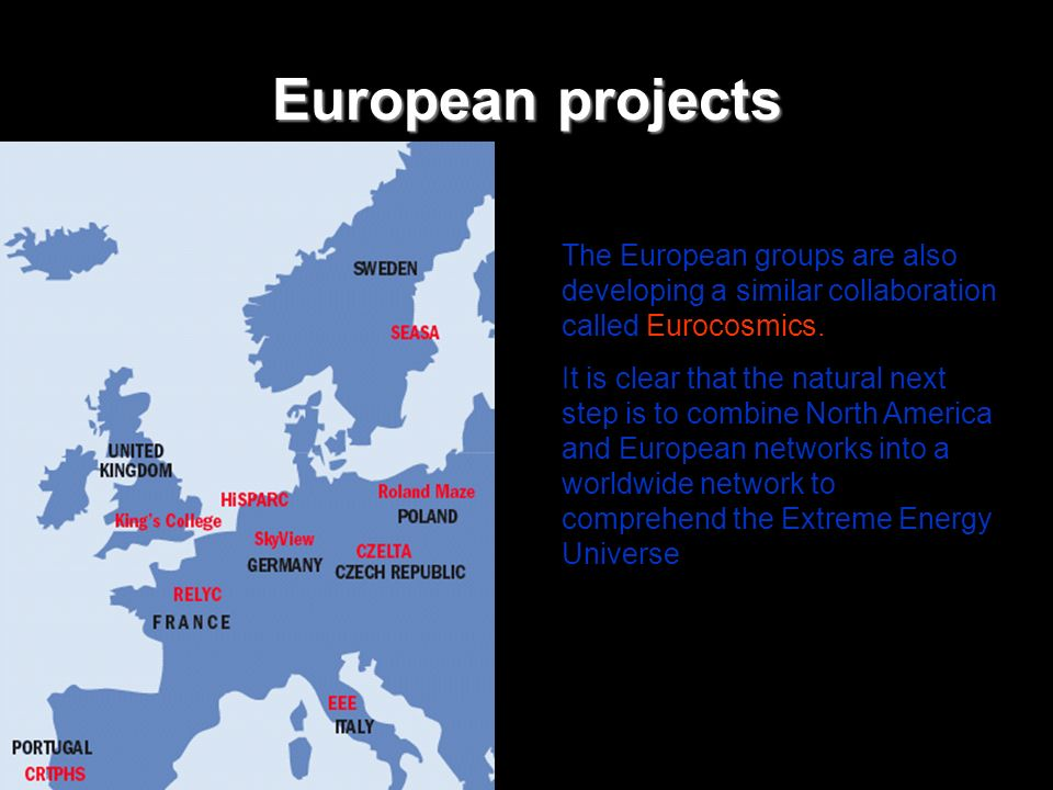 European projects The European groups are also developing a similar collaboration called Eurocosmics.