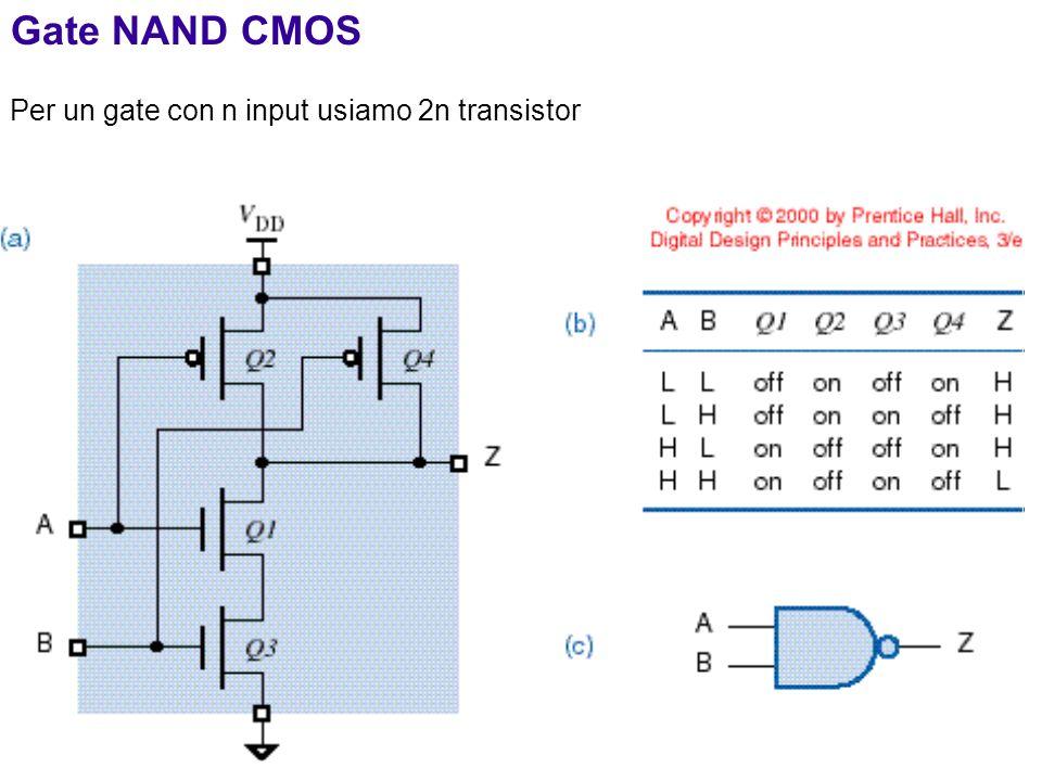 10 Gate NAND CMOS Per un gate con n input usiamo 2n transistor