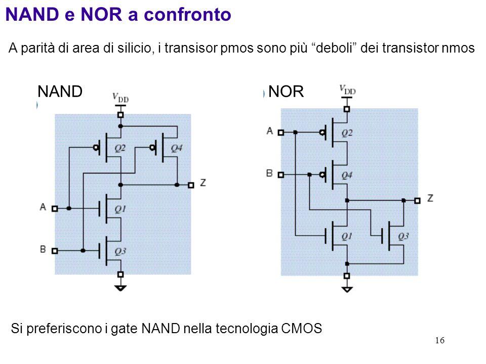 16 NANDNOR NAND e NOR a confronto A parità di area di silicio, i transisor pmos sono più deboli dei transistor nmos Si preferiscono i gate NAND nella