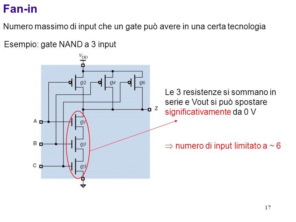 17 Fan-in Numero massimo di input che un gate può avere in una certa tecnologia Esempio: gate NAND a 3 input Le 3 resistenze si sommano in serie e Vou