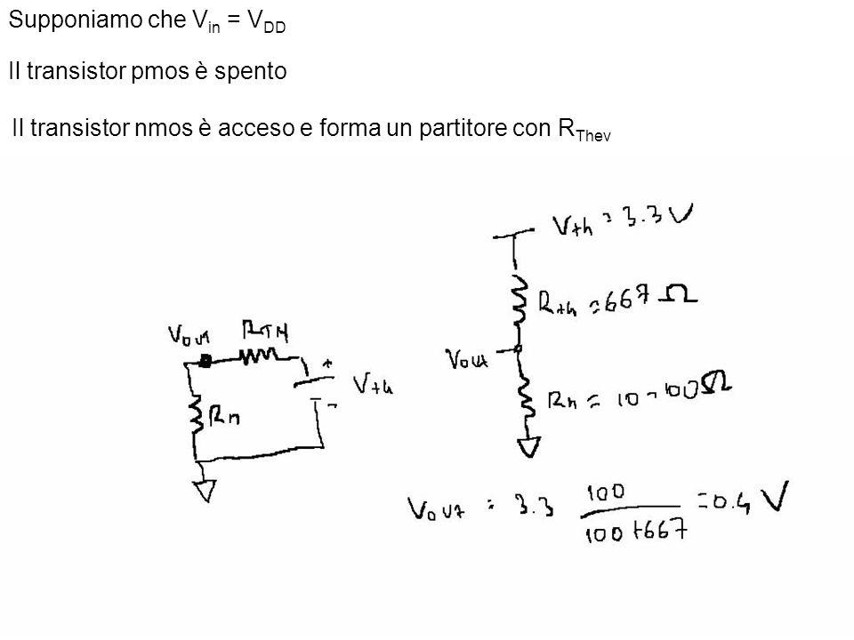 30 Supponiamo che V in = V DD Il transistor pmos è spento Il transistor nmos è acceso e forma un partitore con R Thev