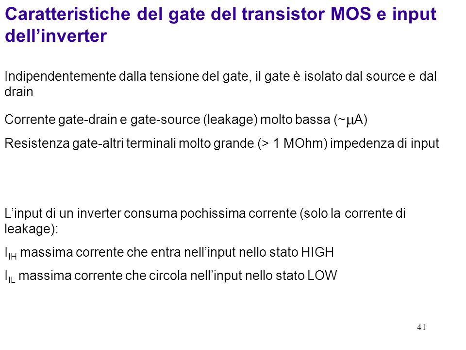 41 Caratteristiche del gate del transistor MOS e input dellinverter Indipendentemente dalla tensione del gate, il gate è isolato dal source e dal drai