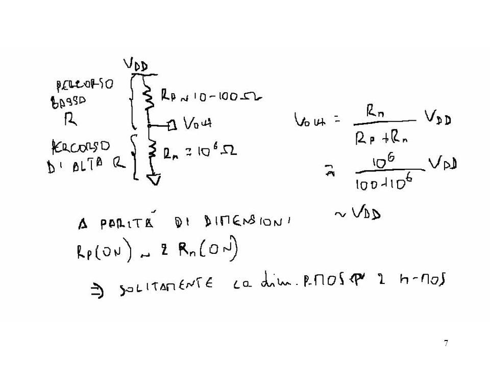 28 Supponiamo che V in = 0 Il transistor nmos è spento Il transistor pmos è acceso e forma un partitore con R Thev V in =0 V out =4.61 V V DD =5 V