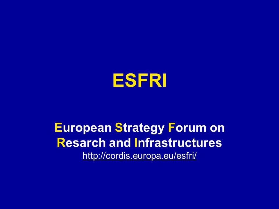 ESFRI European Strategy Forum on Resarch and Infrastructures http://cordis.europa.eu/esfri/