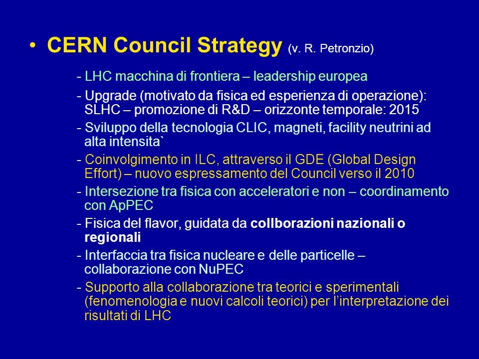 CERN Council Strategy (v. R. Petronzio) - LHC macchina di frontiera – leadership europea - Upgrade (motivato da fisica ed esperienza di operazione): S