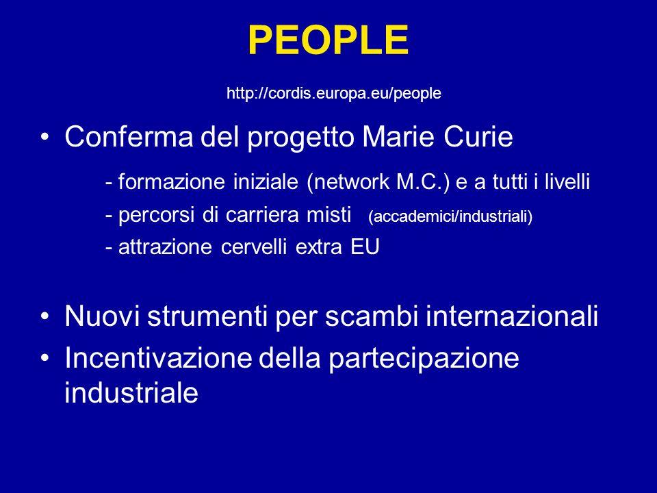 PEOPLE http://cordis.europa.eu/people Conferma del progetto Marie Curie - formazione iniziale (network M.C.) e a tutti i livelli - percorsi di carrier