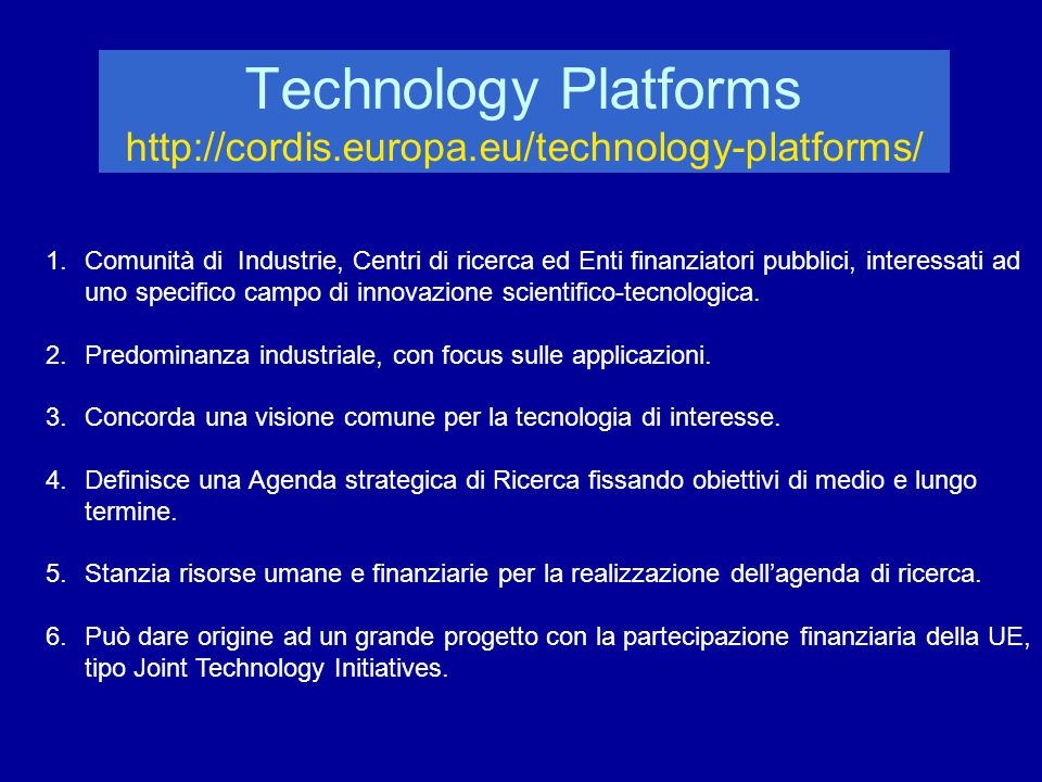 PEOPLE http://cordis.europa.eu/people Conferma del progetto Marie Curie - formazione iniziale (network M.C.) e a tutti i livelli - percorsi di carriera misti (accademici/industriali) - attrazione cervelli extra EU Nuovi strumenti per scambi internazionali Incentivazione della partecipazione industriale