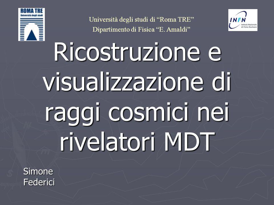 Ricostruzione e visualizzazione di raggi cosmici nei rivelatori MDT Simone Federici Università degli studi di Roma TRE Dipartimento di Fisica E. Amald
