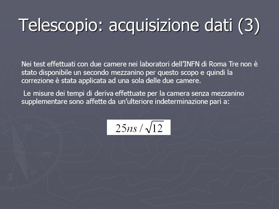 Telescopio: acquisizione dati (3) Nei test effettuati con due camere nei laboratori dellINFN di Roma Tre non è stato disponibile un secondo mezzanino