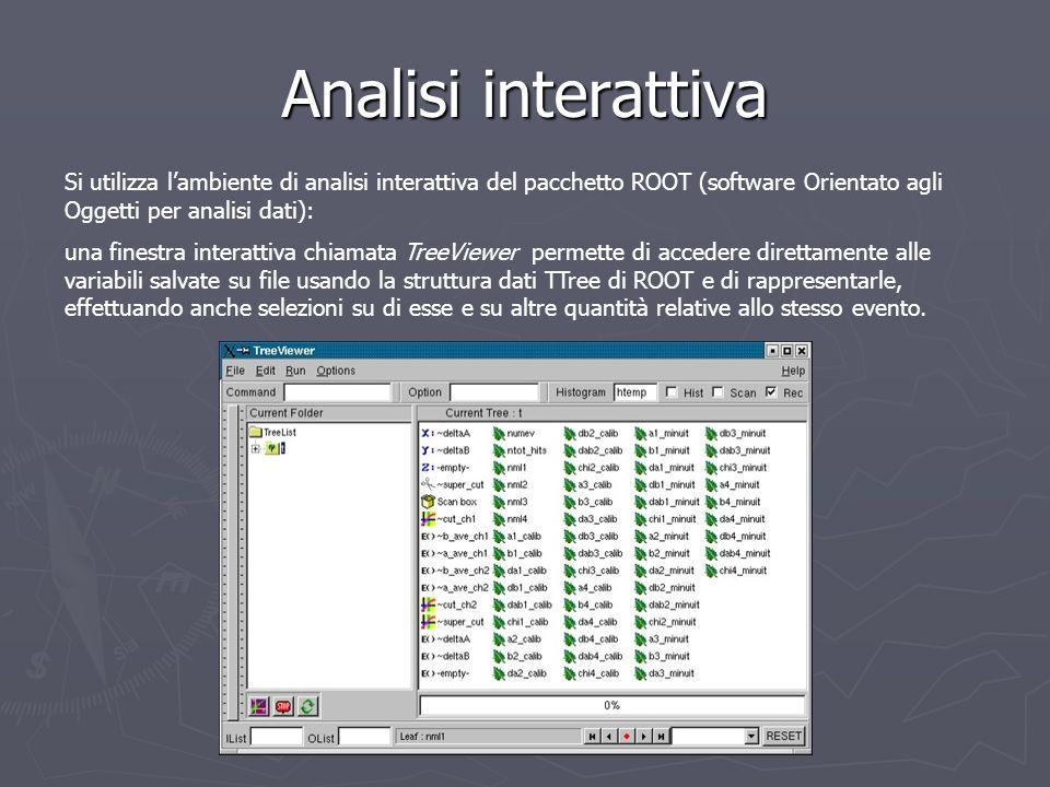 Analisi interattiva Si utilizza lambiente di analisi interattiva del pacchetto ROOT (software Orientato agli Oggetti per analisi dati): una finestra i