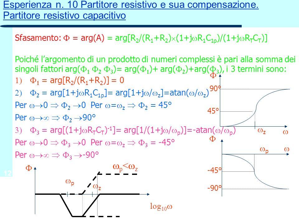 12 Sfasamento: = arg(A) = arg[R 2 /(R 1 +R 2 ) (1+j R 1 C 1p )/(1+j R T C T )] Poiché largomento di un prodotto di numeri complessi è pari alla somma