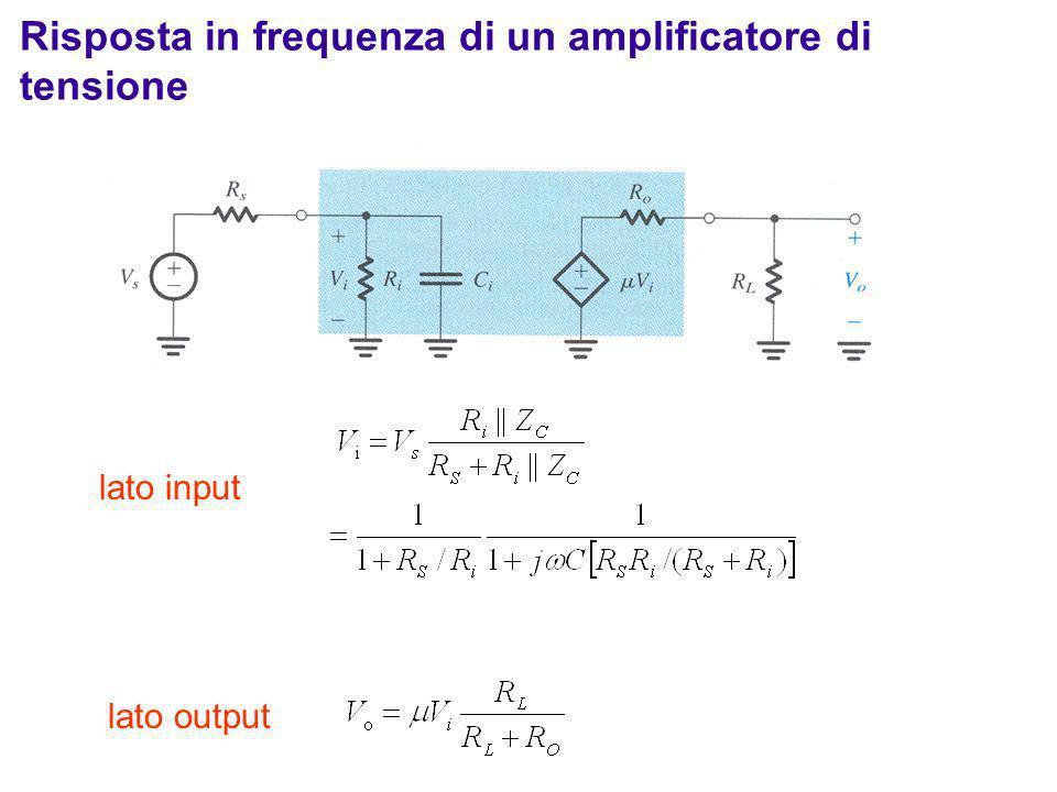 lato input lato output Risposta in frequenza di un amplificatore di tensione