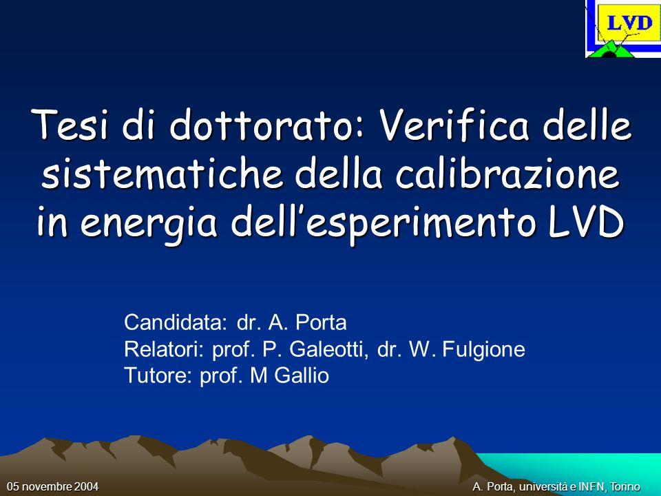 A. Porta, università e INFN, Torino05 novembre 2004 Tesi di dottorato: Verifica delle sistematiche della calibrazione in energia dellesperimento LVD C