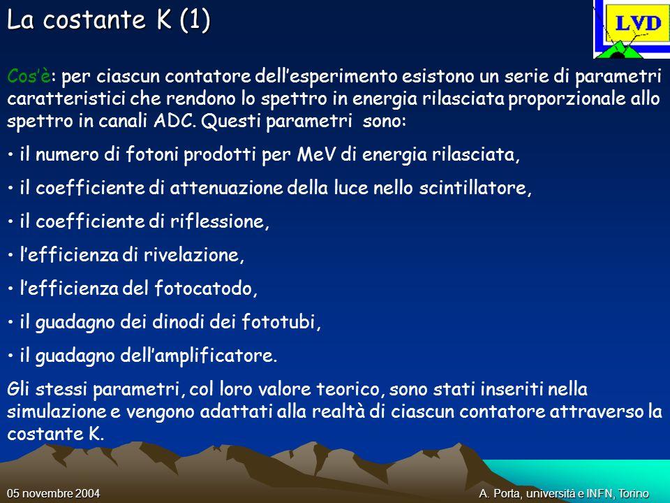 A. Porta, università e INFN, Torino05 novembre 2004 La costante K (1) Cosè: per ciascun contatore dellesperimento esistono un serie di parametri carat