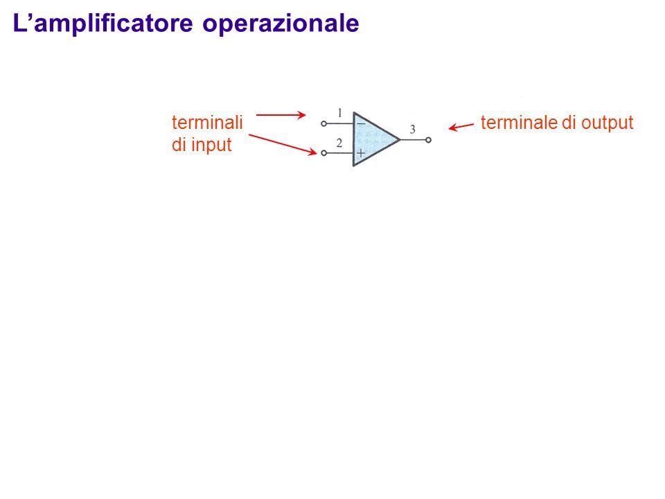 Lamplificatore operazionale ideale Lamplificatore è sensibile alla differenza v 2 – v 1 : Terminale 1: terminale invertente (-) Terminale 2: terminale non invertente (+) Applichiamo 2 tensioni agli input 1 e 2