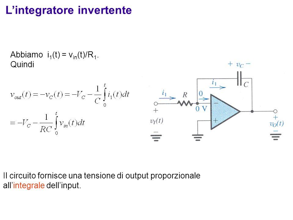 Abbiamo i 1 (t) = v in (t)/R 1. Quindi Il circuito fornisce una tensione di output proporzionale allintegrale dellinput. Lintegratore invertente