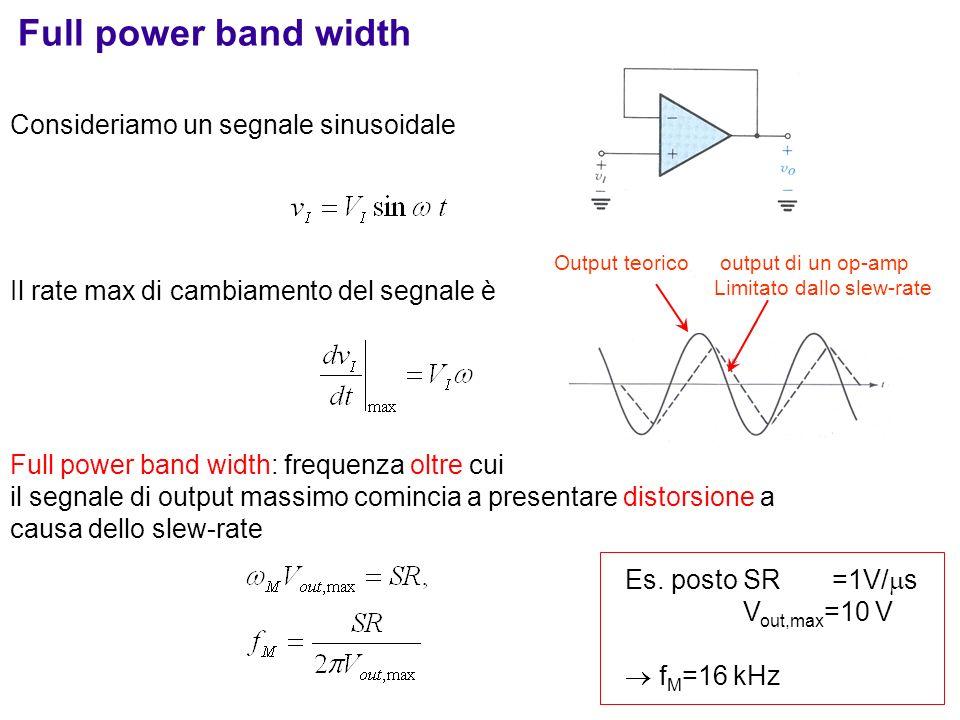 Consideriamo un segnale sinusoidale Il rate max di cambiamento del segnale è Full power band width: frequenza oltre cui il segnale di output massimo c