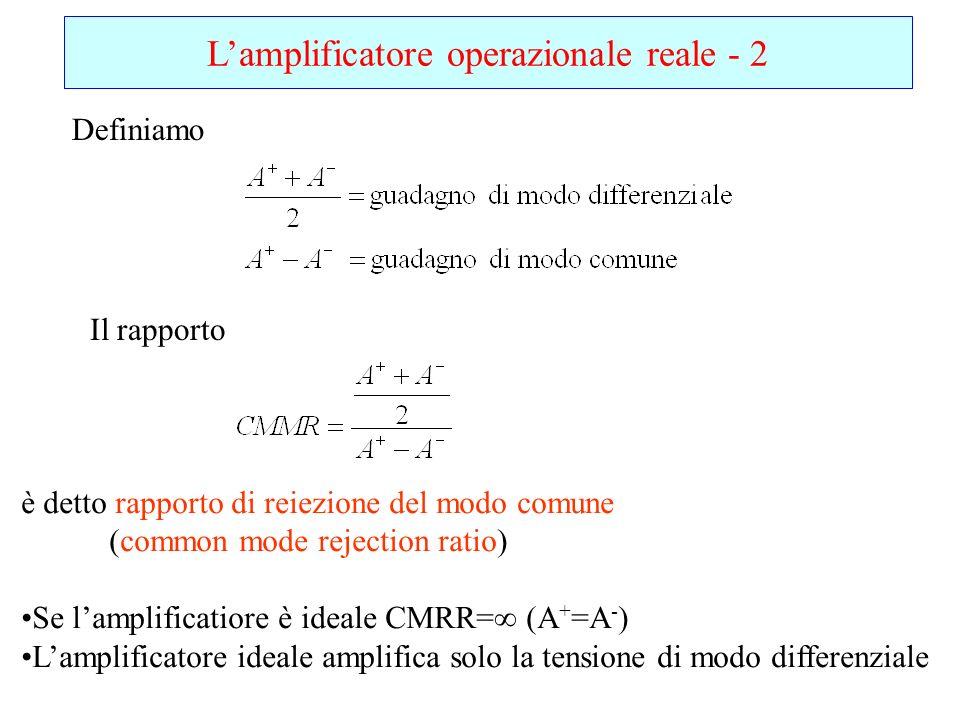 Lamplificatore operazionale reale - 2 Definiamo Il rapporto è detto rapporto di reiezione del modo comune (common mode rejection ratio) Se lamplificat