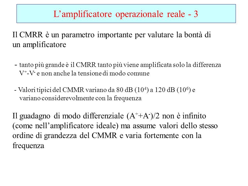 Lamplificatore operazionale reale - 3 Il CMRR è un parametro importante per valutare la bontà di un amplificatore - tanto più grande è il CMRR tanto p