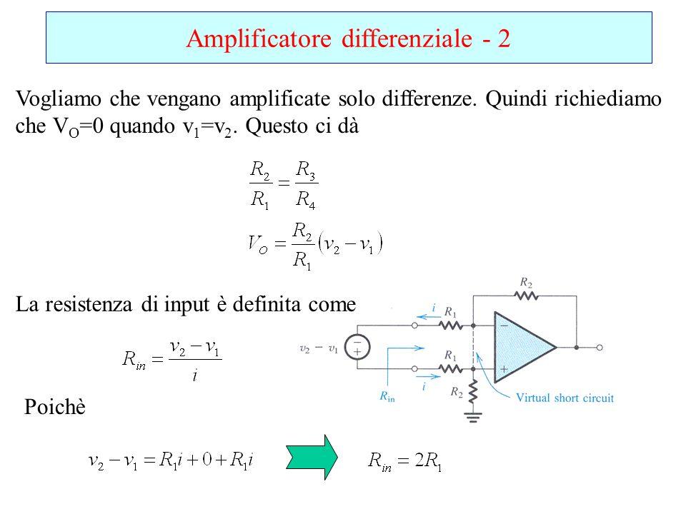 Amplificatore differenziale - 2 Vogliamo che vengano amplificate solo differenze. Quindi richiediamo che V O =0 quando v 1 =v 2. Questo ci dà La resis