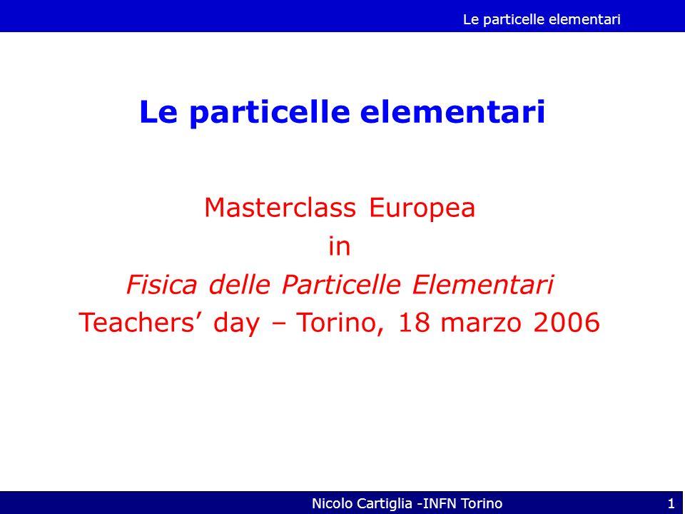 Le particelle elementari Nicolo Cartiglia -INFN Torino1 Le particelle elementari Masterclass Europea in Fisica delle Particelle Elementari Teachers da
