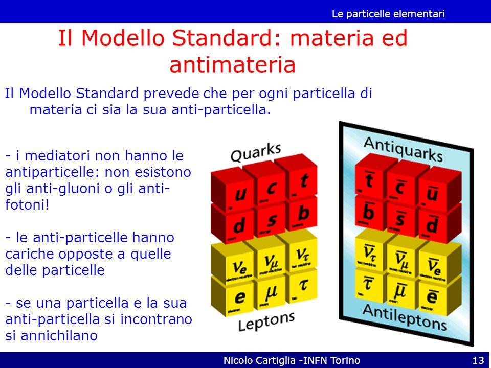 Le particelle elementari Nicolo Cartiglia -INFN Torino13 Il Modello Standard: materia ed antimateria Il Modello Standard prevede che per ogni particel