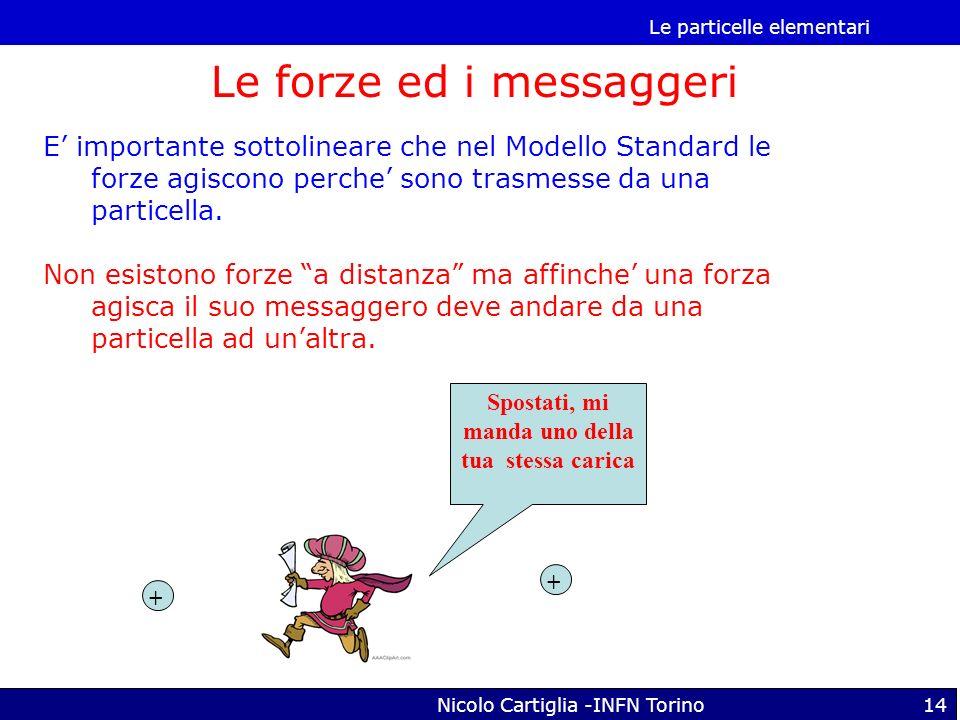 Le particelle elementari Nicolo Cartiglia -INFN Torino14 Le forze ed i messaggeri E importante sottolineare che nel Modello Standard le forze agiscono