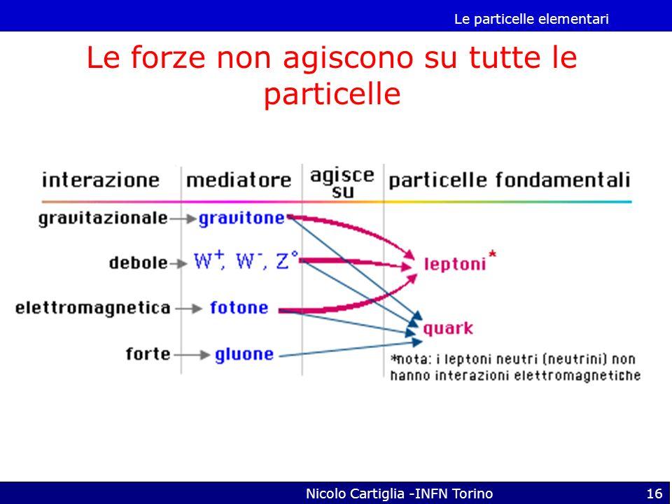 Le particelle elementari Nicolo Cartiglia -INFN Torino16 Le forze non agiscono su tutte le particelle