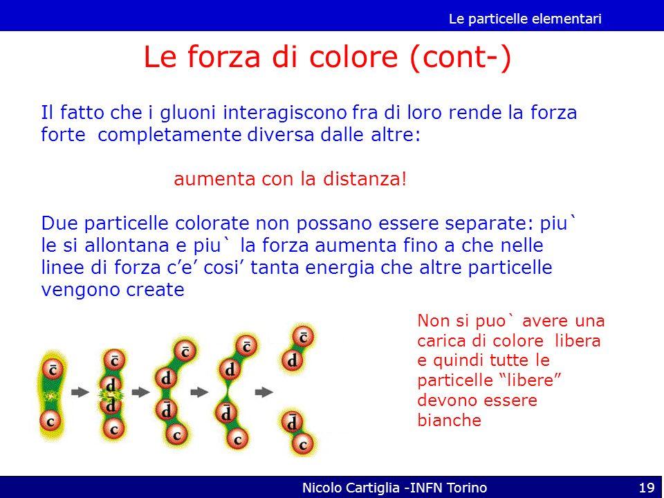 Le particelle elementari Nicolo Cartiglia -INFN Torino19 Il fatto che i gluoni interagiscono fra di loro rende la forza forte completamente diversa da