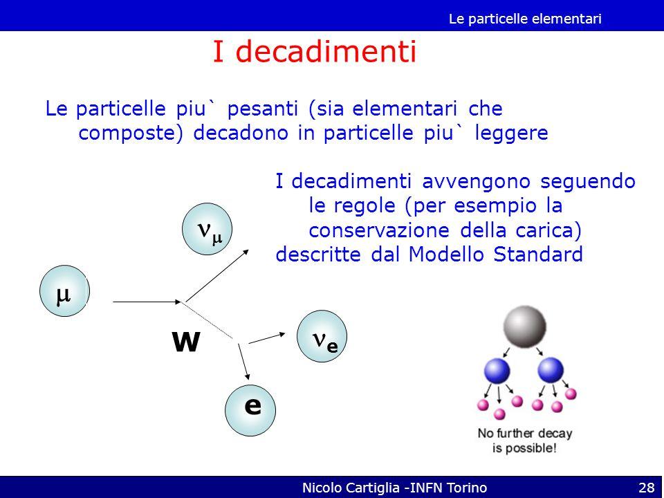 Le particelle elementari Nicolo Cartiglia -INFN Torino28 I decadimenti Le particelle piu` pesanti (sia elementari che composte) decadono in particelle