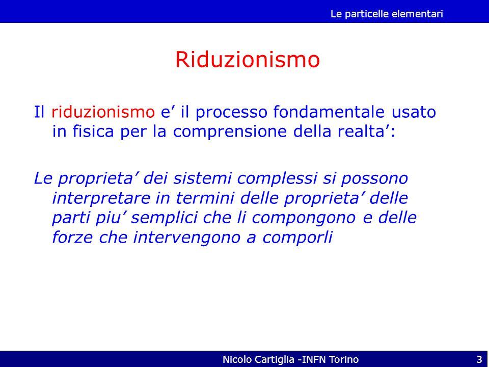 Le particelle elementari Nicolo Cartiglia -INFN Torino3 Il riduzionismo e il processo fondamentale usato in fisica per la comprensione della realta: L