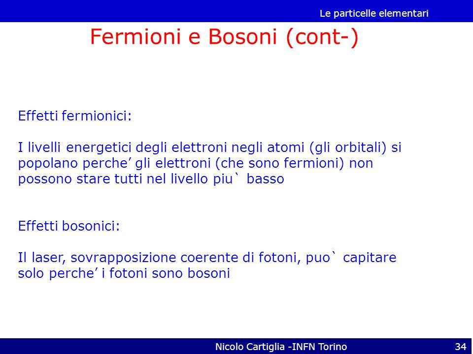 Le particelle elementari Nicolo Cartiglia -INFN Torino34 Fermioni e Bosoni (cont-) Effetti fermionici: I livelli energetici degli elettroni negli atom
