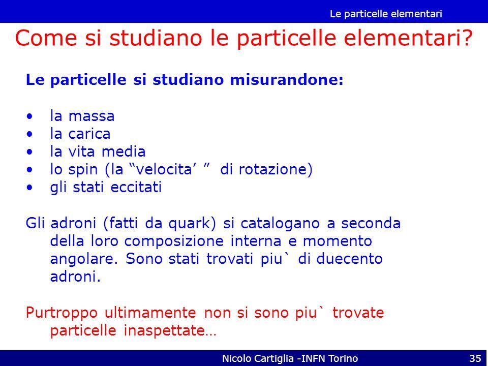 Le particelle elementari Nicolo Cartiglia -INFN Torino35 Come si studiano le particelle elementari? Le particelle si studiano misurandone: la massa la
