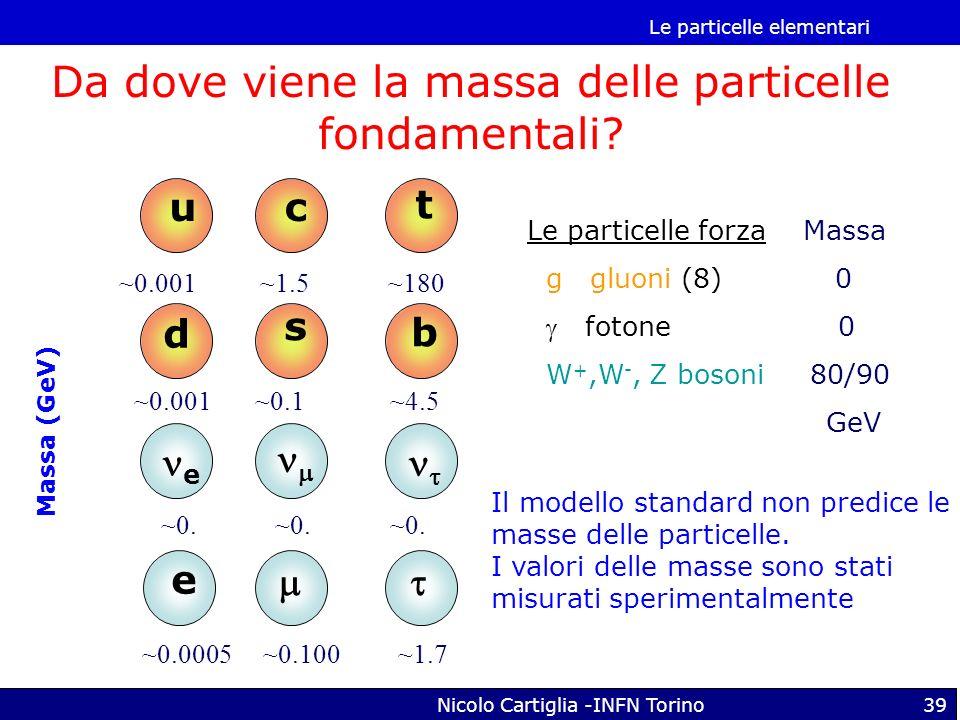 Le particelle elementari Nicolo Cartiglia -INFN Torino39 Le particelle forza Massa g gluoni (8) 0 fotone 0 W +,W -, Z bosoni 80/90 GeV u d c s t b e e