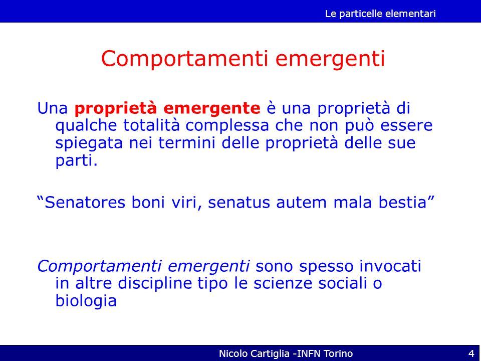 Le particelle elementari Nicolo Cartiglia -INFN Torino4 Una proprietà emergente è una proprietà di qualche totalità complessa che non può essere spieg