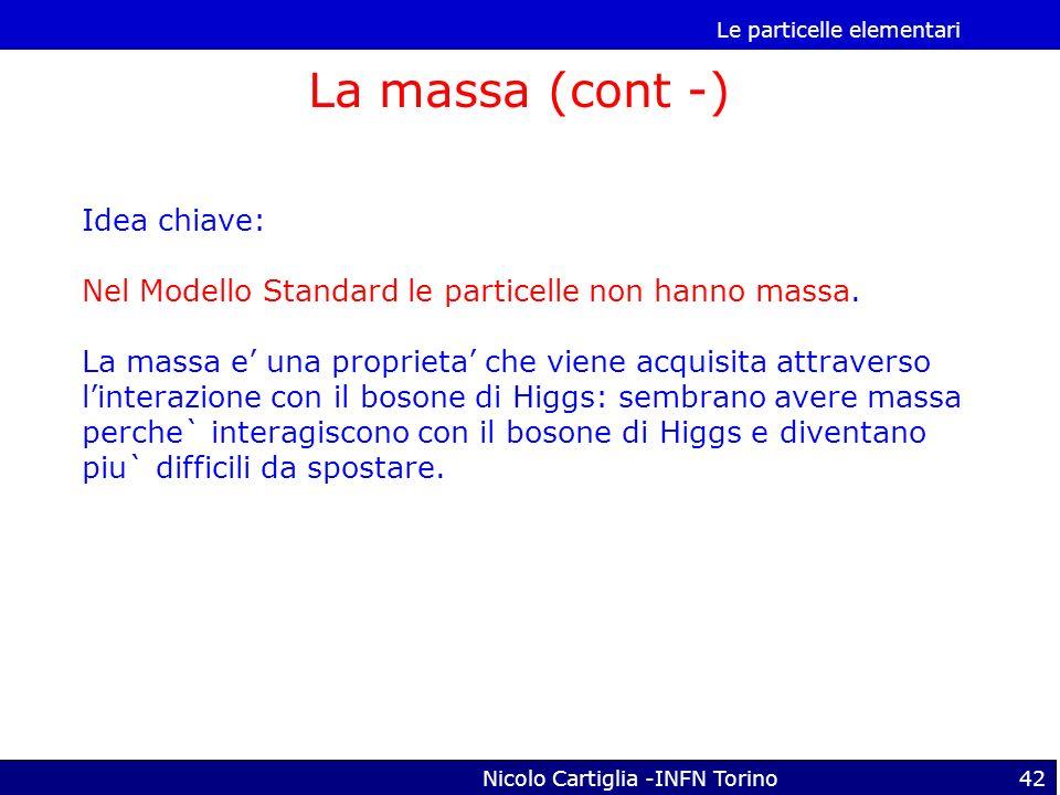 Le particelle elementari Nicolo Cartiglia -INFN Torino42 La massa (cont -) Idea chiave: Nel Modello Standard le particelle non hanno massa. La massa e