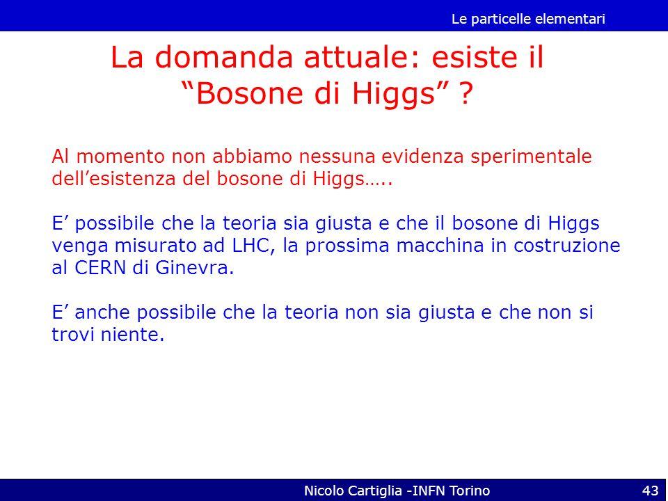 Le particelle elementari Nicolo Cartiglia -INFN Torino43 La domanda attuale: esiste il Bosone di Higgs ? Al momento non abbiamo nessuna evidenza speri
