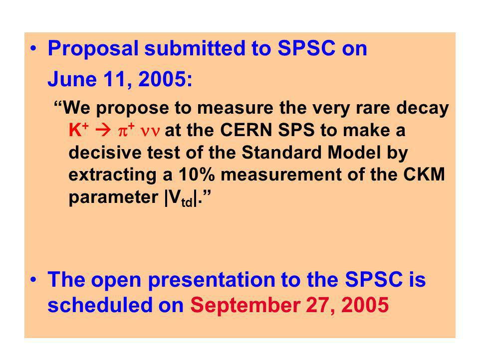 Proposal submitted to SPSC on June 11, 2005: We propose to measure the very rare decay K + + at the CERN SPS to make a decisive test of the Standard Model by extracting a 10% measurement of the CKM parameter |V td |.