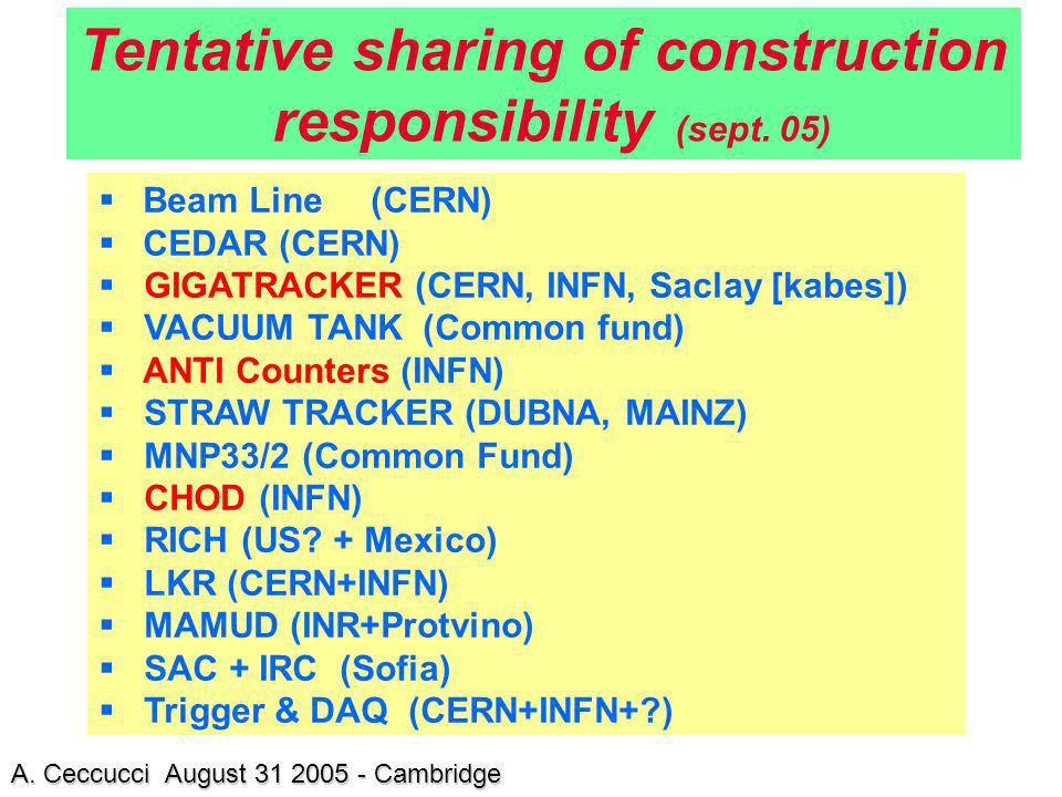 Beam Line (CERN) CEDAR (CERN) GIGATRACKER (CERN, INFN, Saclay [kabes]) VACUUM TANK (Common fund) ANTI Counters (INFN) STRAW TRACKER (DUBNA, MAINZ) MNP
