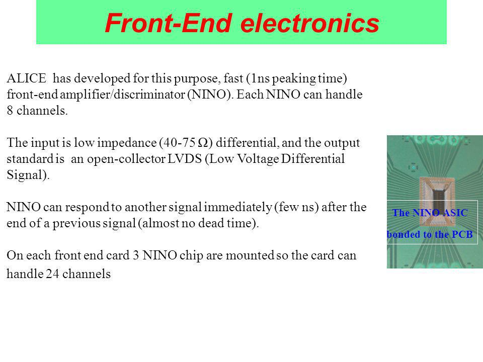 Front-End electronics ALICE has developed for this purpose, fast (1ns peaking time) front-end amplifier/discriminator (NINO).