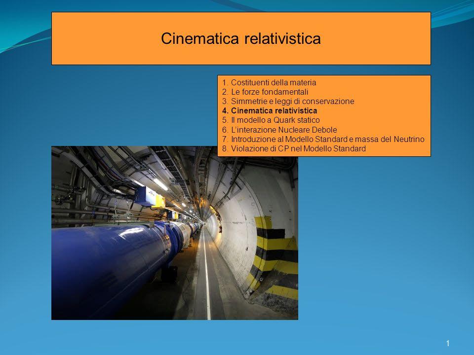 Richiami sulla cinematica relativistica Principi Qualunque esperimento fornisce gli stessi risultati se eseguito in due sistemi di riferimento dei quali uno sia in moto rettilineo uniforme rispetto allaltro.