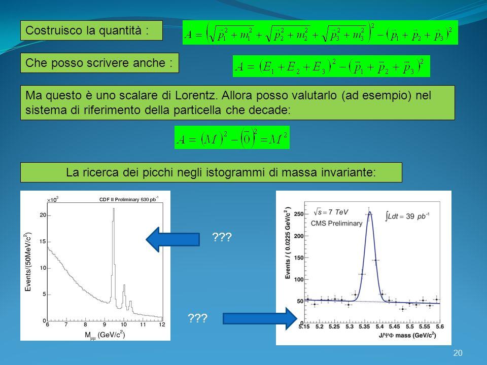 20 La ricerca dei picchi negli istogrammi di massa invariante: Costruisco la quantità : Ma questo è uno scalare di Lorentz. Allora posso valutarlo (ad