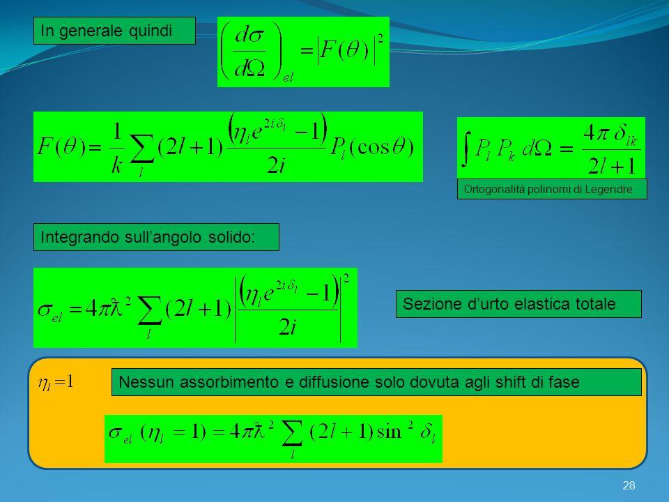 28 In generale quindi Ortogonalità polinomi di Legendre Integrando sullangolo solido: Sezione durto elastica totale Nessun assorbimento e diffusione s