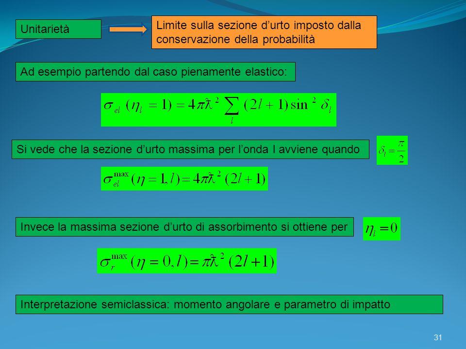 31 Unitarietà Limite sulla sezione durto imposto dalla conservazione della probabilità Ad esempio partendo dal caso pienamente elastico: Si vede che l